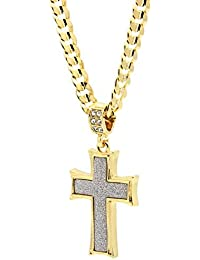 Mens Gold Tone Stardust Curved Cross Thick Pendant...