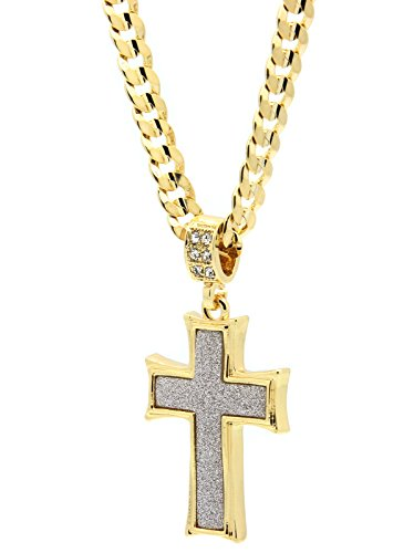 - L & L Nation Mens Gold Tone Stardust Curved Cross Thick Pendant Hip-hop 6mm 24