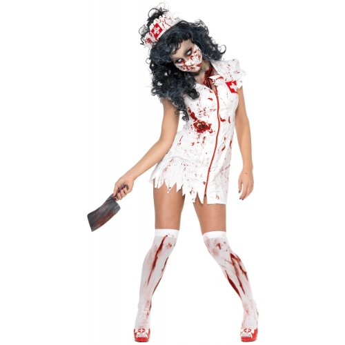 Smiffys Women's Zombie Nurse Costume, Dress, Mask and Headpiece, National Horror Service, Halloween, Size 6-8, 34132 -
