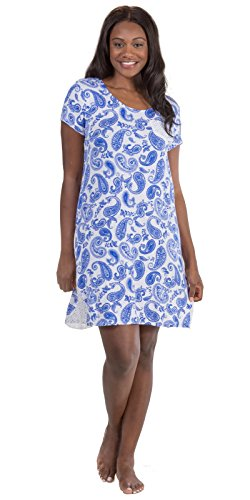 - Ellen Tracy Sleepshirt by Rayon Knit Short Sleeve in Paisley Royalty (White/Blue Paisley, X-Large)