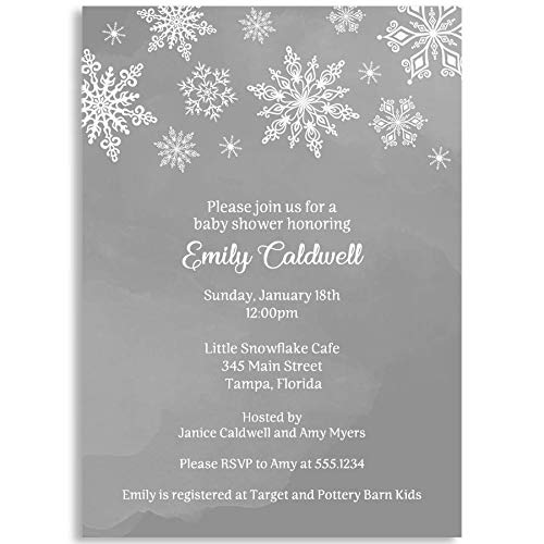 Winter Wonderland Baby Shower Invitations, Gray, Gender Neutral Baby Shower, Winter Wonderland, Baby Shower, Snowflakes, Snowfall, White, Winter, 10 Printed Invitations with White Envelopes]()