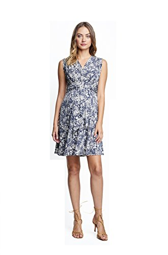 Maternal America Women's Maternity Mini Sleeveless Front Tie Dress, Ditsy Floral, Extra (Maternal America Maternity Sleeveless Top)