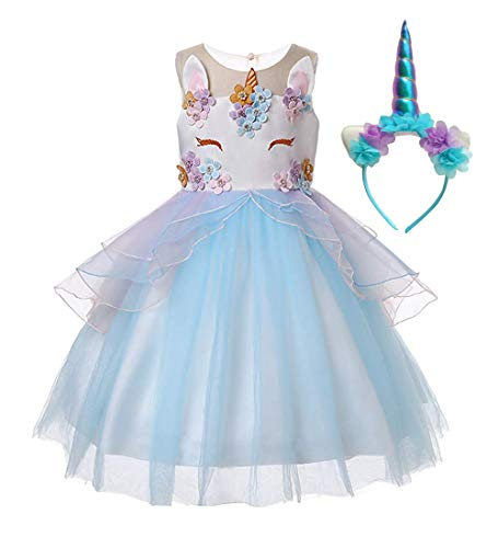 Wenge Kid Unicorn Costume Dress Girl Princess Flower Pageant Party Dresses Flower Evening Gowns Tutu Fancy Dress (5-6 Years/130CM, Blue)