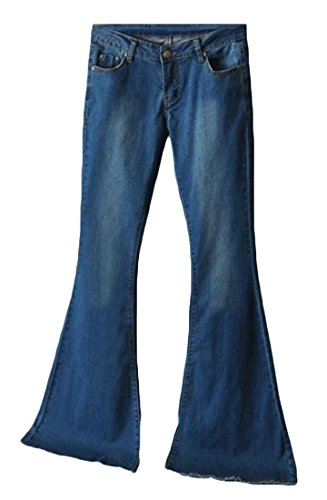 GAGA Women's Vintage Low-waist Bell Bottom Flare Jeans Pants Dart Blue M