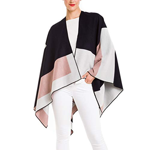 Cardigan Poncho Cape: Women Elegant Cardigan Shawl Wrap Sweater Coat for Winter (Geometric Navy Pink) ()