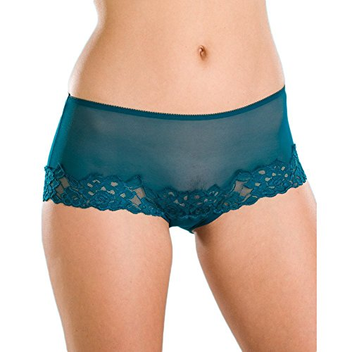 Camille Women's Womens Ladies Underwear Teal Green Sheer Lace Boxer Shorts 6/8 Green
