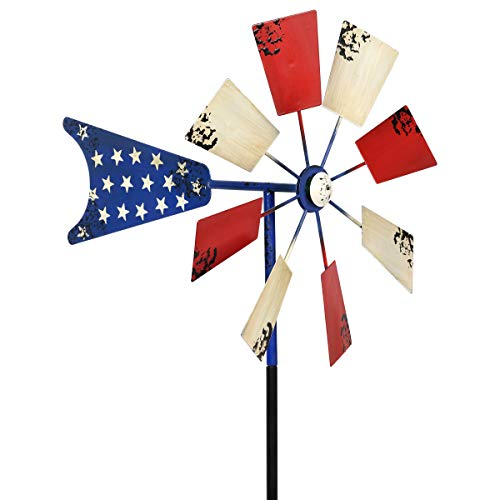 Exhart Amer Garden Windmill w/Weather Resistant Americana Metal Blades, Blue White Red
