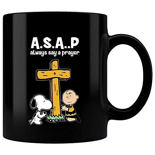ASAP Always Say A Prayer Snoopy And Charlie Brown Prayed With Jesus Cross Mug, Coffee Mug, Office Mug, Bithday Gift, Funny Snoopy Mug, Funny Charlie Mug