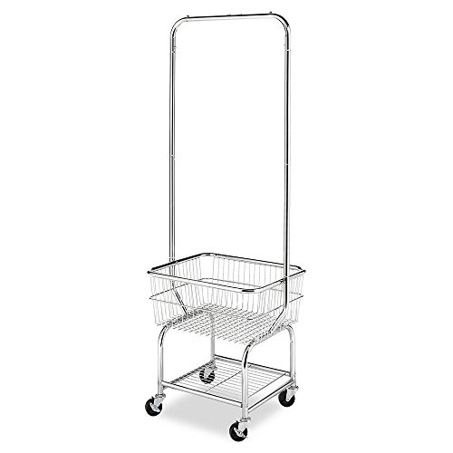 Laundry Cart Rolling On Wheels With Hanging Rack Utility Heavy Duty