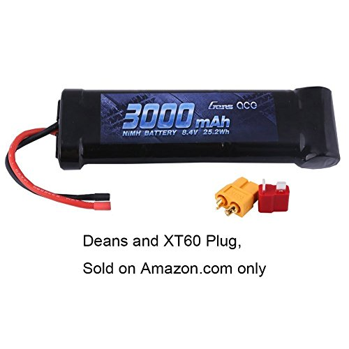 Gens ace 8.4V 3000mAh NiMH Battery 7-C Flat Pack with XT60 and Deans Plug for 1 10 Scale Vehicles or Larger