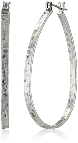 Lucky Brand Silver-Tone Medium Oblong Hoop Earrings