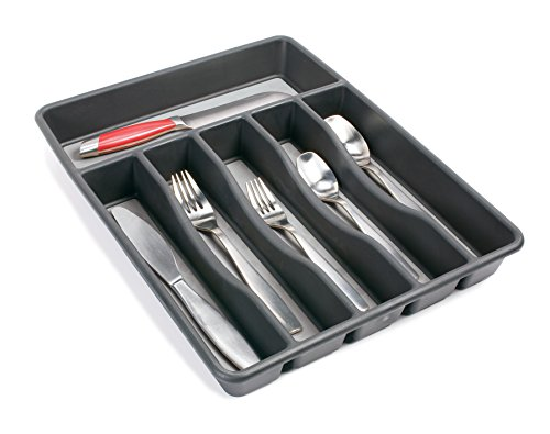 Rubbermaid no slip silverware tray organizer large black for Silverware storage no drawers