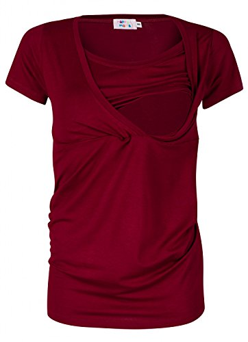 Happy Mama. Damen Umstandsmoden Top Stillshirt Lagendesign Empire-Taille. 790p (Purpur, EU 36/38, S)