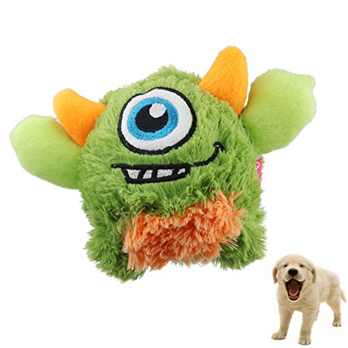 Iris Sprite Plush Dog Toy Interactive Squeak Ball Chew Toys Great for Small and Medium Puppy (Green)