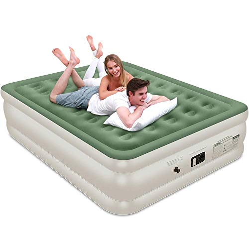 """Veken Air Mattress with Built-in Pump, Inflatable 18"""" Double Height Elevated Airbed with Flocked Top, Best Air Mattresses for Guests, Family, 2-Year Guarantee"""