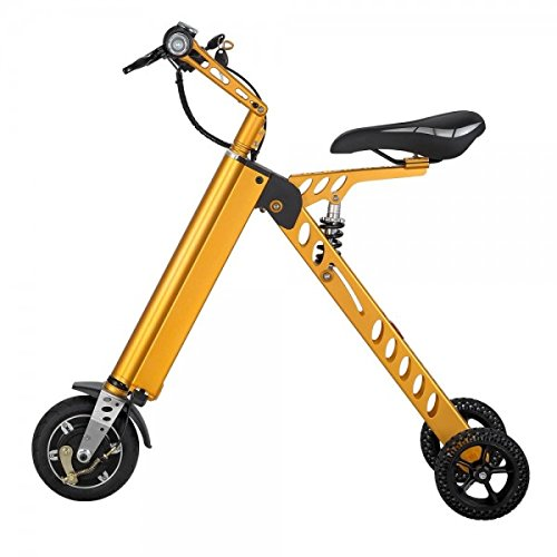 Hoverheart 10 Inch Foldable Three Wheel Electric Scooter, Bike for Travel and Leisure Activities (Gold)