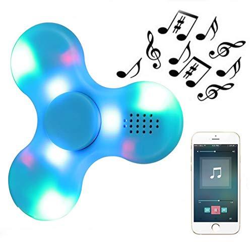 Kivors Speaker Fidget Spinner, Children's Gift Wireless Speakers Music Fidget Spinner Toy Reducer EDC Hand Spinner for ADHD, Anxiety, Autism Kids Adult Toy Gifts, Blue (Best Led Fidget Spinner)