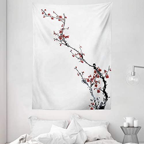 Ambesonne Watercolor Flower Tapestry, Sakura Tree Cherry Branches in Classic Style Artwork, Wall Hanging for Bedroom Living Room Dorm, 60 X 80 , Dark Coral Black Grey