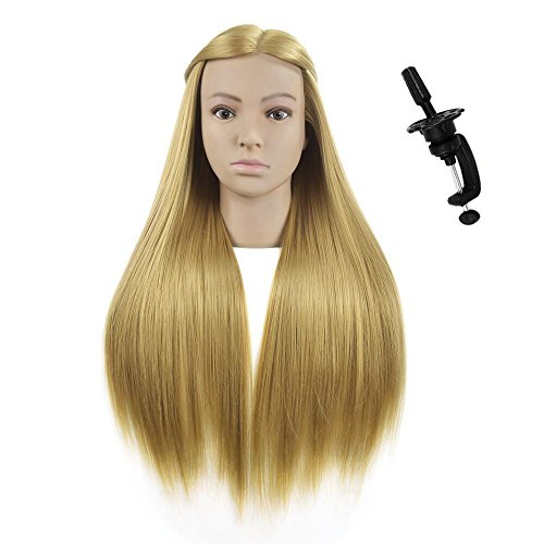 "Beauty : 26""-28""Mannequin Head Hair Styling Training Head Hairdresser Manikin Cosmetology Doll Head Synthetic Fiber Hair with Free Clamp"