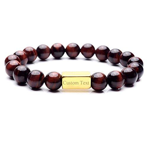 Custom Gemstone Bracelet - JOVIVI Free Engraving - Personalized Custom Red Eye stone Healing Balancing Gemstone Chakra Beads Stretch Bracelet with Stainless Steel Gold ID