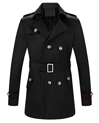 MOGU Mens Double Breasted Belted Trench Coat Jacket Casual Overcoat US Size 37 (Tag Asian Size XXL) Black
