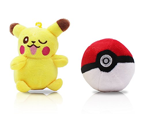 Finex Set of 2 Pikachu Pokemon Yellow Plush Male Pikachu Pokeball Beaded Chain Keychain Hanging Ornaments (Keychain Plush Pokemon)