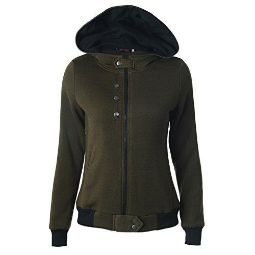 [FWQ Women Zipper Hooded Coat Sweater (M, Army Green)] (Cute Army Girl Halloween Costumes)