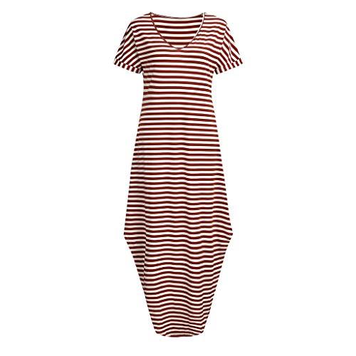 Women Dress, Tronet Women's V Neck Side Pockets Striped Split Hem Beach Long Maxi Dress