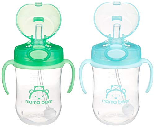 Amazon Brand - Mama Bear Weighted Straw Cup (Pack of 2)