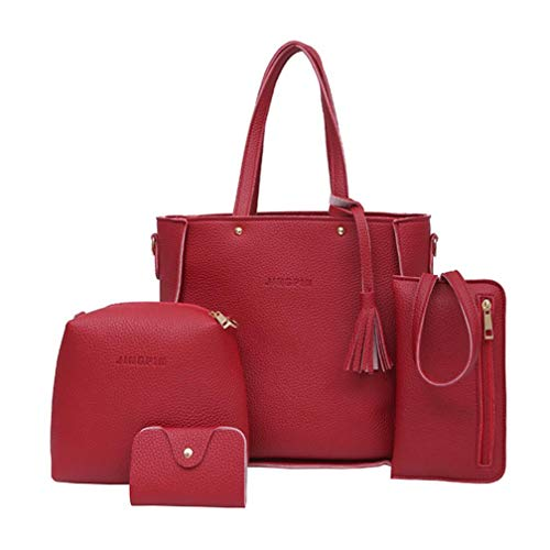 4 Set Handbag Shoulder Bags,Outsta Women's Four Pieces Tote Bag Crossbody Wallet Travel Backpack Messenger Classic Basic Casual Daypack (Red)