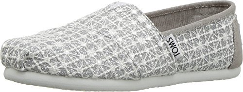 Toms Youth Alpargata Crochet And Lace Espadrille, Size: 3 M US Little Kid, Color: Silver Lace Glimmer
