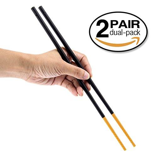 Gripsticks Cooking Chopsticks - Enhanced Grip Silicone Tips, 2-Pair, 30cm (12 inch long - 4 More Than Regular Chopsticks), Dishwasher Safe, Black