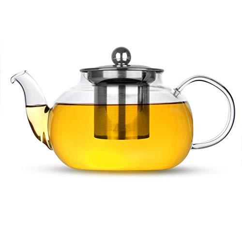 Infusor de te de cristal | Filtro de tetera de hojas sueltas de acero inoxidable | Colador de te y cafe resistente al calor | Taza de te sola taza | M&W 800ml