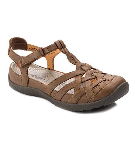 BareTraps Womens Florrie Faux Leather Flat Sandals Brown 7.5 Medium (B,M) (Closed Sandal Fisherman Toe)