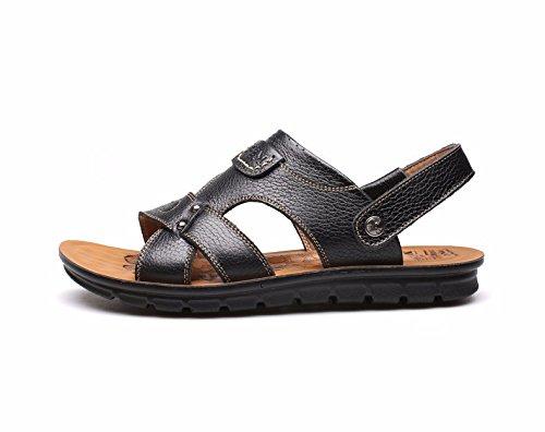 estate Uomini sandali vera pelle Taglia larga Spiaggia scarpa Uomini Tempo libero pelle sandali tendenza ,nero,US=7.5,UK=7,EU=40 2/3,CN=41