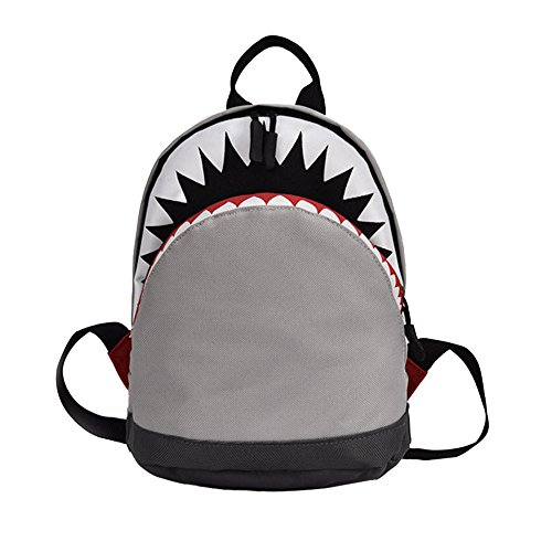 Birdfly Toddler Kid Children Cool Shark Style Student School Bag Backpack  In Black And Gray Two Size U2026 (L, Gray)