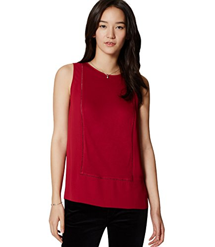 ann-taylor-loft-womens-solid-paneled-mixed-media-ladder-lace-shell-tank-top-small-vibrant-cranberry
