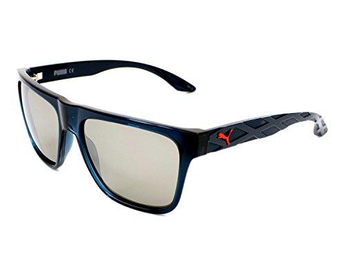 Puma - EXO 600 PU0008S, Wayfarer, injected, men, BLUE/GREY SILVER MIRROR cat.3(005 G), 57/17/140 - Puma Silver Sunglasses