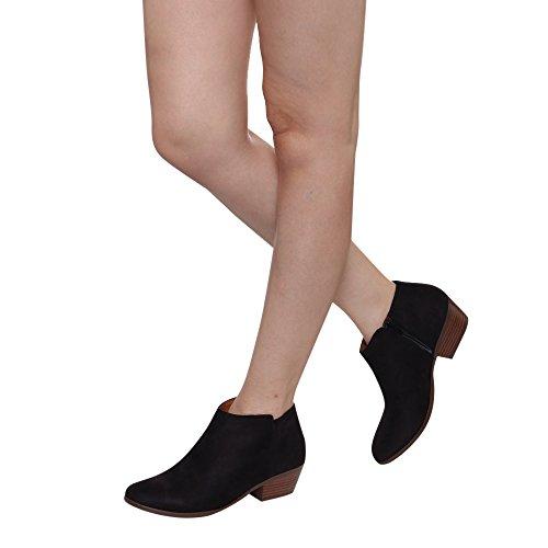 Soda Frauen Western Inside Zipper Gestapelte Heel Ankle Booties SCHWARZER WILDLEDER