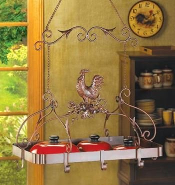 SKB Family Kitchen Rack Country Rooster Pot Hanging Iron Storage Pan Holder Pots Pans Home Organizer New Rustic Iron.