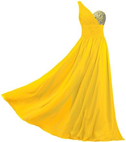 Fourmis Mousseline De Soie Femmes Une Robes De Bal Épaule Longues Robes De Soirée Jaune Foncé
