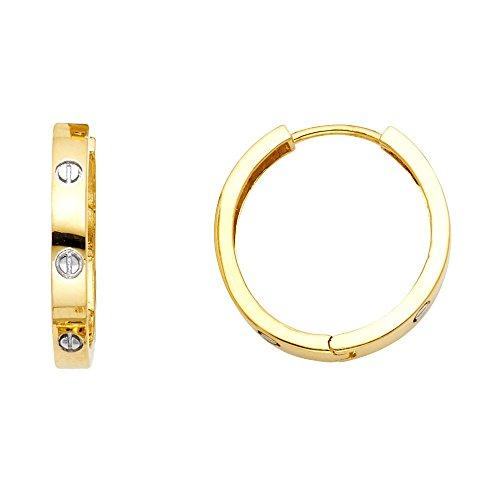 14k Two Tone Gold 3mm Thickness Nail Head Huggie Hoop Earrings (15mm Diameter)