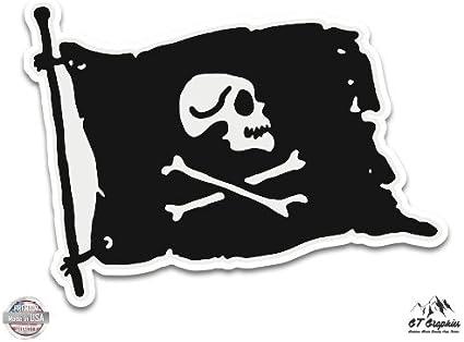 GT Graphics American Flag Skull with Crossbones Vinyl Sticker Waterproof Decal