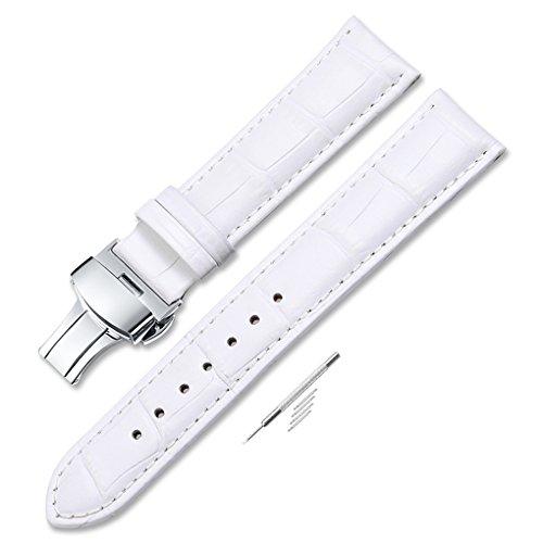 Leather Watch Band Women Men Watch Strap White Watch Straps Deployment Buckle 16mm 18mm (White Leather Strap)