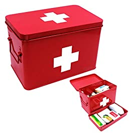 Vintage First aid Box for Home, Medicine Tin, Red Metal Medicine Storage Box (Large 12.6× 8.3×7.7 inches)