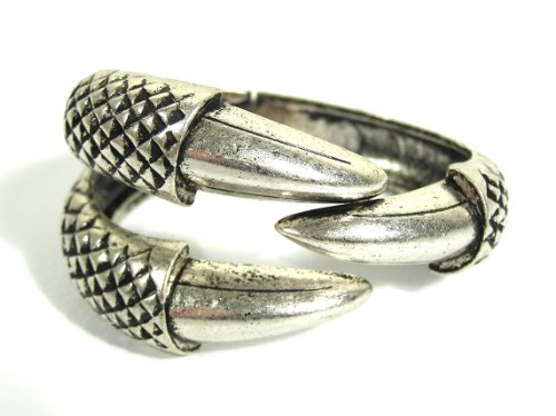 - Magic Metal Claw Cuff Hinged Dragon Eagle Talon Bangle BA13 Silver Tone Bracelet Vintage Fashion Jewelry
