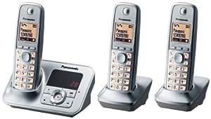 """Panasonic KX-TG6623- Teléfono trio, 100 entradas, 18 min, 4.57 cm (1.8 """"), Plata, 150 x 75 x 90 mm [importado de Alemania]"""