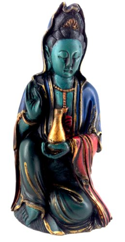 Kuan Kwan Quan Yin Goddess of Mercy Meditating Statue for Compassion Vegetarianism