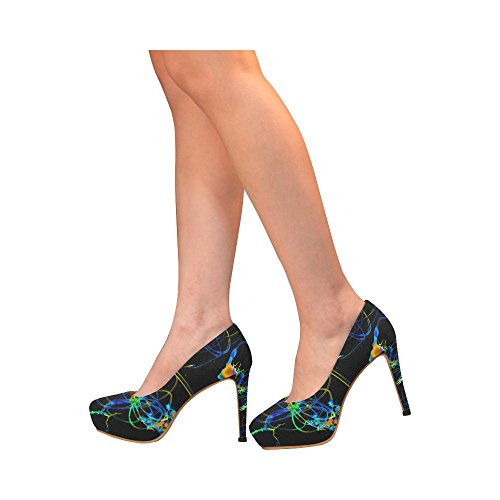 InterestPrint Vintage Stripes Womens Sexy High Heels Pump Shoes Abstract Neon Fun Cs0bbHcS