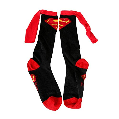 Baiyu Soccer Socks knee high Super Hero Superman Batman Cartoon Knee High With Cape Soccer Cosplay Socks Soccer Long Sock -Black